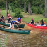 students with canoes