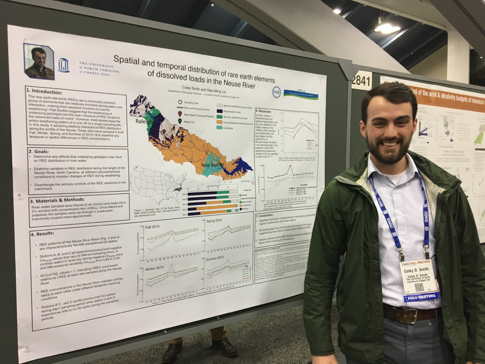 Coley Smith presenting his poster at AGU.