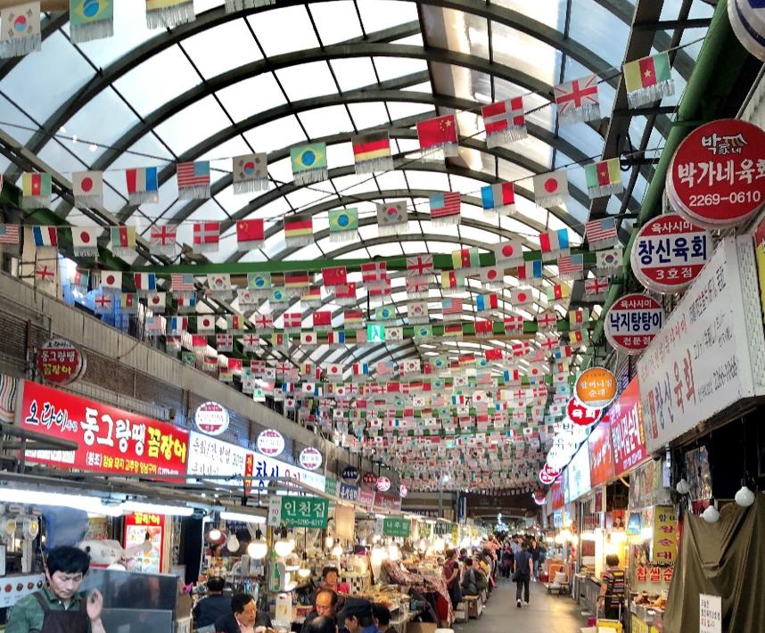 A view of Gwangjang Market's food vendors