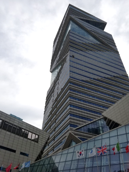 """The G-Tower is the """"control center"""" for Songdo's smart city. CCTV cameras throughout the city feed real-time info to the building, which is converted to data. This data can then be used to improve the standard of living of those in the city."""