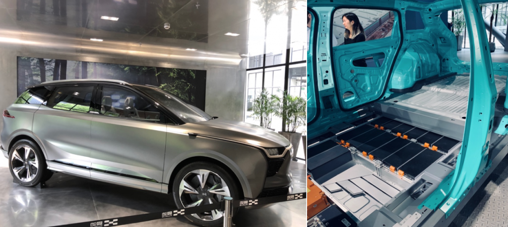 SUV U5 that will be on the market in September of 2019 and its aluminium frame with the energy storage batteries on the bottom