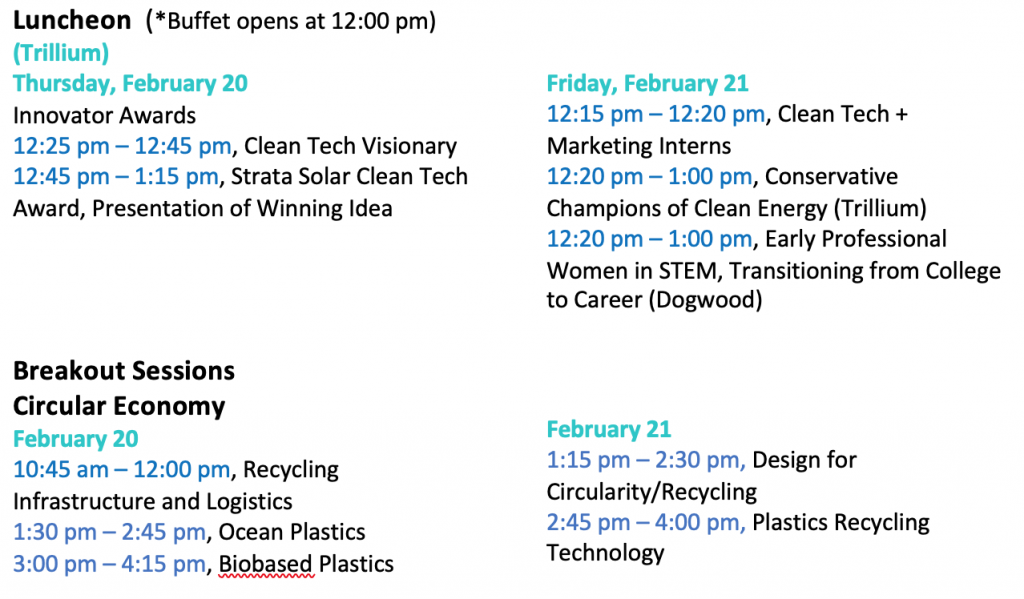 Revised Luncheon UNC Clean Tech Summit