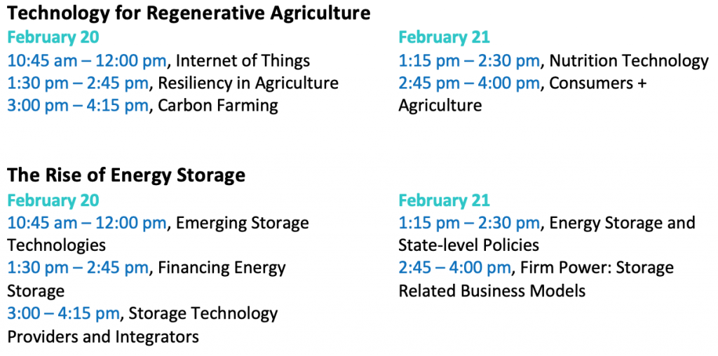 Revised Agtech and Energy Storage UNC Clean Tech Summit
