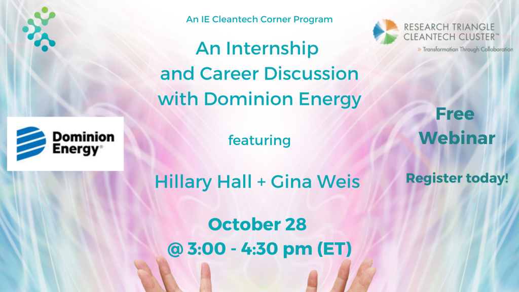 Cleantech Corner Webinar internship career Dominion Energy