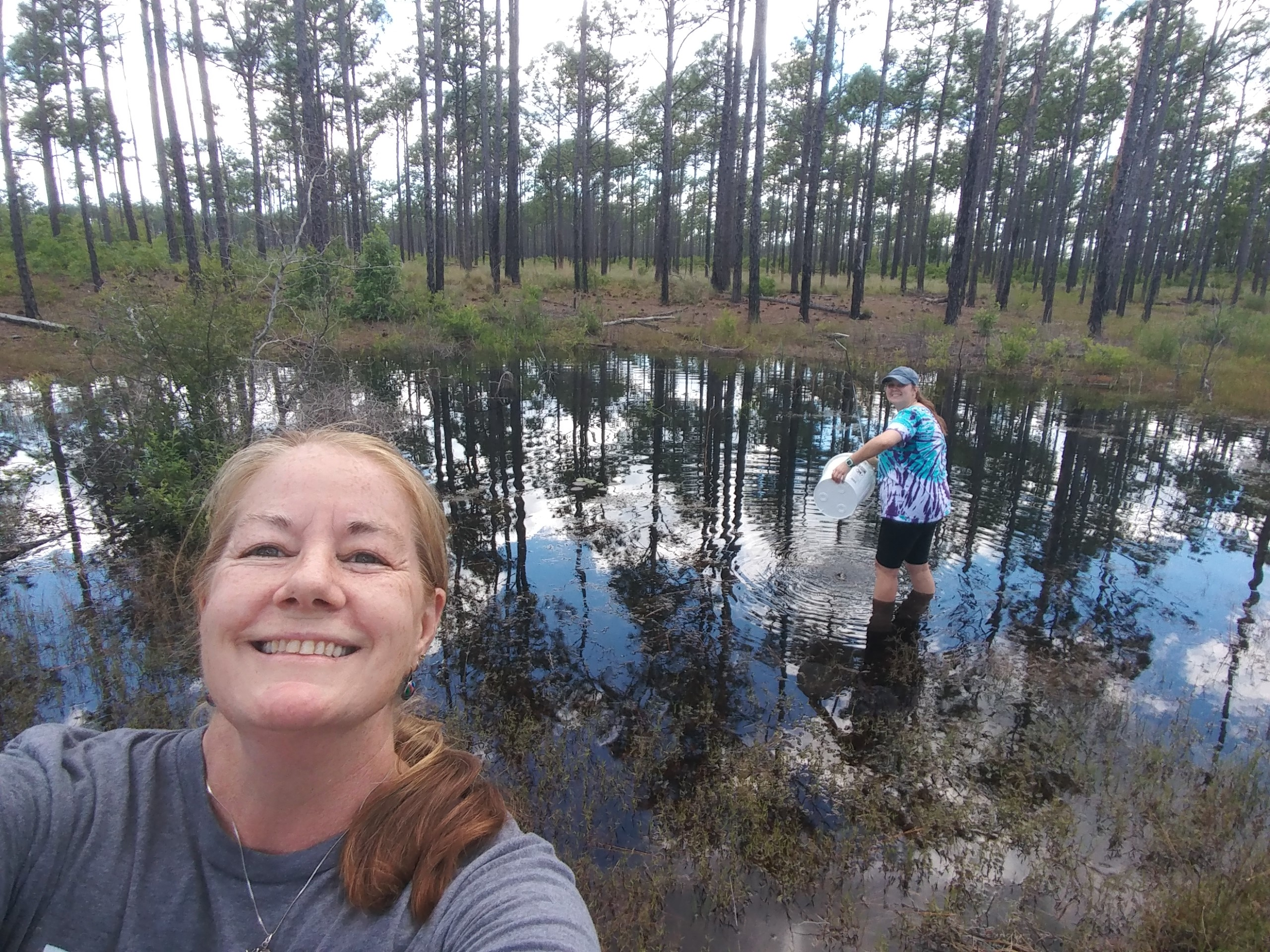 Millis and her mentor, Carol Price, collecting sphagnum moss for their gopher frog project.
