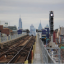 The Philadelphia skyline is seen from the Market Frankford platform at 63rd Street.